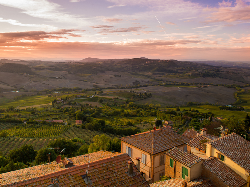 Village landscape in Montepulciano, Italy