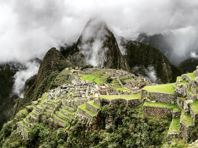 View of cloudy Machu Picchu, Cusco, Peru