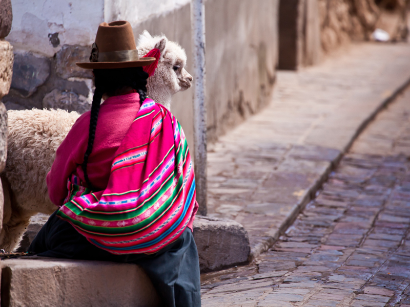 Woman in traditional clothes with llama sitting on stone in Cuzco,Peru